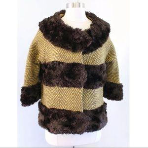 Tibi Herringbone Tweed Wool Faux Fur Coat